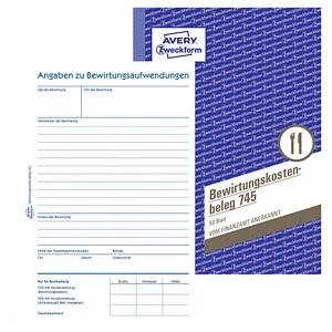 AVERY Zweckform Formularbuch 745 Bewirtungskostenbeleg