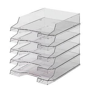 5 helit Briefablagen grau-transparent DIN A4