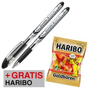 AKTION: 10 Schneider Kugelschreiber Slider Basic schwarz Schreibfarbe schwarz + GRATIS HARIBO GOLDBÄREN 200 g