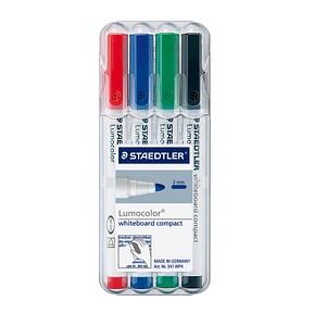 4 STAEDTLER compact Whiteboard-Marker farbsortiert 1,0 - 2,0 mm