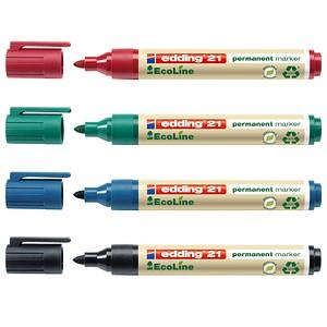 4 edding 21 EcoLine Permanentmarker farbsortiert 1,5 - 3,0 mm