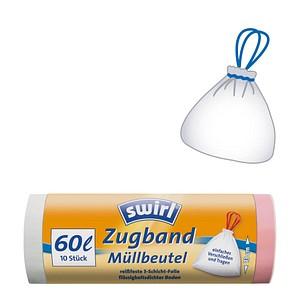 10 swirl® Zugband-Müllbeutel 60,0 l