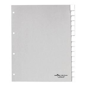 DURABLE Ordnerregister   DIN A4 Vollformat, Überbreite blanko grau 15-teilig