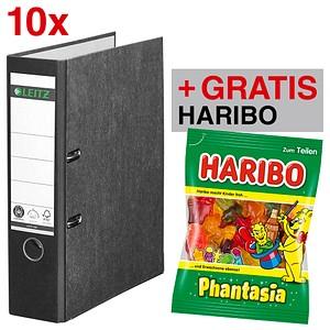 AKTION: 10 LEITZ 1080 Ordner schwarz Karton 8,0 cm + GRATIS Haribo Phantasia 200 g
