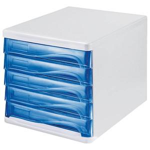 helit Schubladenbox   blau-transparent DIN A4 mit 5 Schubladen