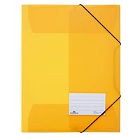 DURABLE Eckspannermappe DIN A4 3 Innenklappen Beschriftungsfenster gelb