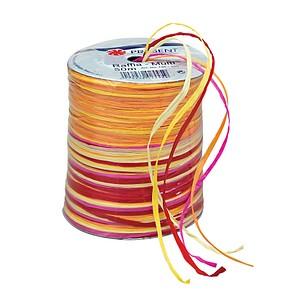 PRÄSENT Geschenkband Raffia matt gelb/rot/orange/pink 3,0 mm x 50,0 mm