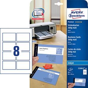 80 AVERY Zweckform Visitenkarten C32015-10 weiß