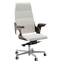 weißer Leder-Chefsessel der Marke Quadrifoglio ohne Kopfstütze