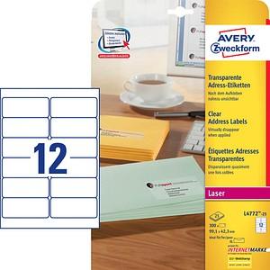 300 AVERY Zweckform Folien-Adressetiketten L4772-25 transparent