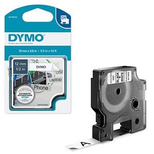 DYMO Beschriftungsband D1 16957 S0718040, 12 mm schwarz auf weiß