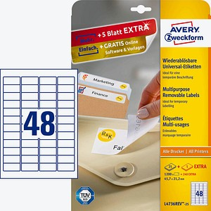 AKTION: 1.200 AVERY Zweckform Etiketten L4736REV-25 weiß + GRATIS 240 Etiketten