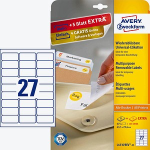 AKTION: 675 AVERY Zweckform Etiketten L4737REV-25 weiß + GRATIS 135 Etiketten