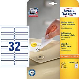 AKTION: 800 AVERY Zweckform Etiketten L6031REV-25 weiß + GRATIS 160 Etiketten