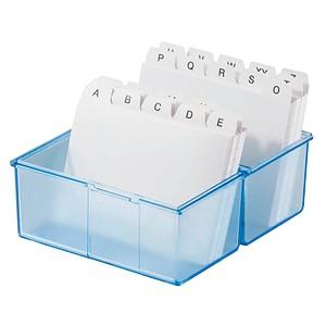 HAN A8 Karteikasten DIN A8   für 300 Karteikarten blau-transparent mit Deckel