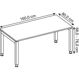 HAMMERBACHER Prokura höhenverstellbarer Schreibtisch lichtgrau rechteckig