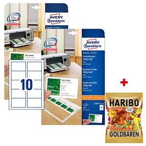 Aktion 200 Avery Zweckform Visitenkarten C32011 10 Weiß Gratis Haribo Goldbären 1 0 Kg