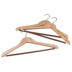 3 Holz Kleiderbügel braun