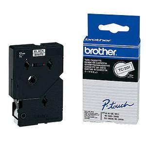brother Beschriftungsband TC-201 TC201, 12 mm schwarz auf weiß