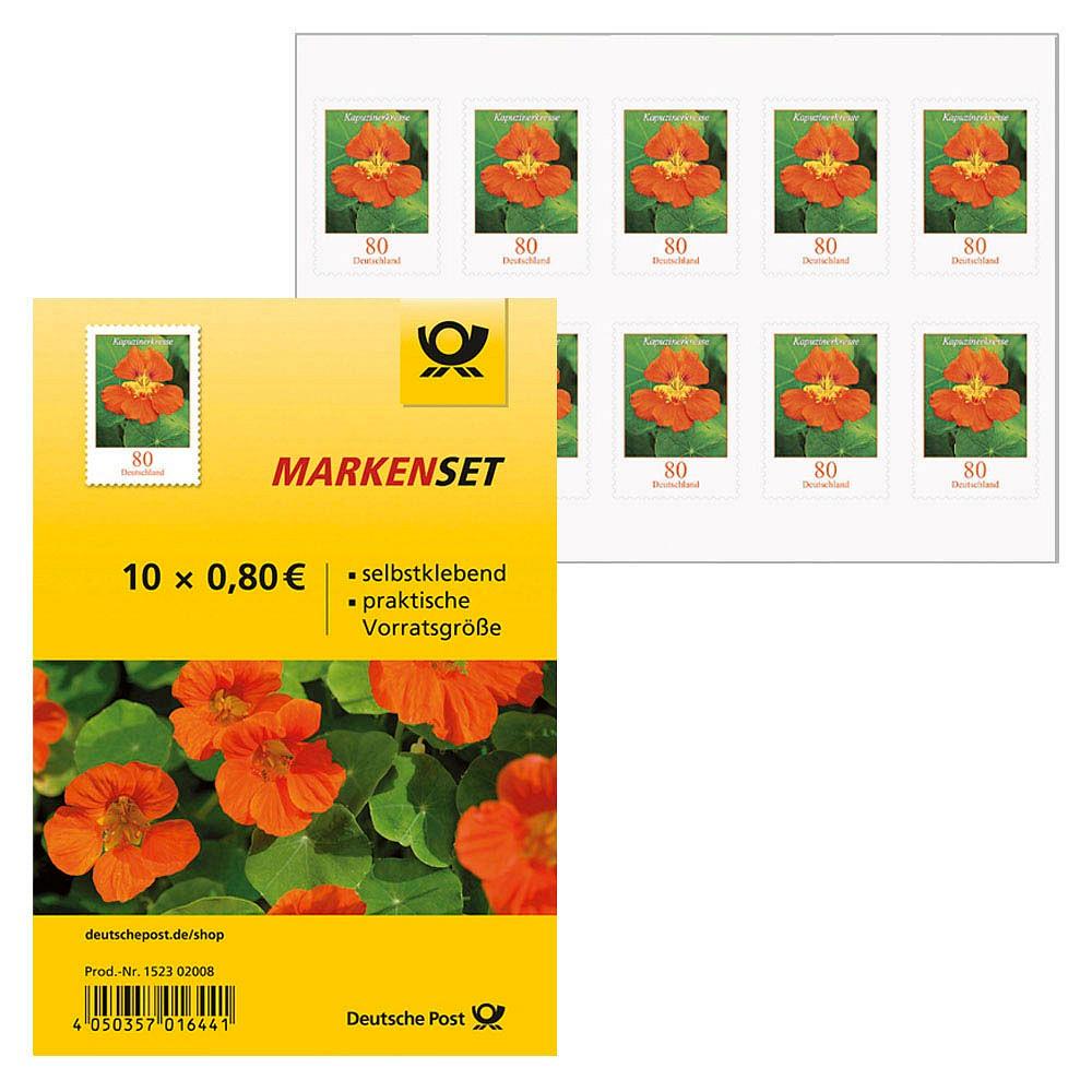 10 Deutsche Post 0,80 Euro Briefmarken   Kapuzinerkresse selbstklebend