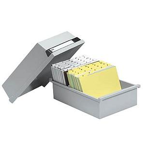 HAN   Karteikasten DIN A5   für 800 Karteikarten grau mit Deckel