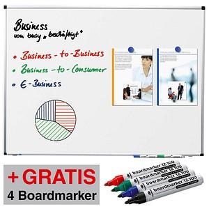 AKTION: Legamaster Whiteboard PREMIUM 90,0 x 60,0 cm spezialbeschichteter Stahl + GRATIS 4 Boardmarker TZ 100 farbsortiert