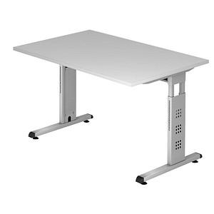 HAMMERBACHER Gradeo höhenverstellbarer Schreibtisch lichtgrau rechteckig